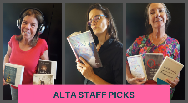 Alta Staff Picks three employees reading books