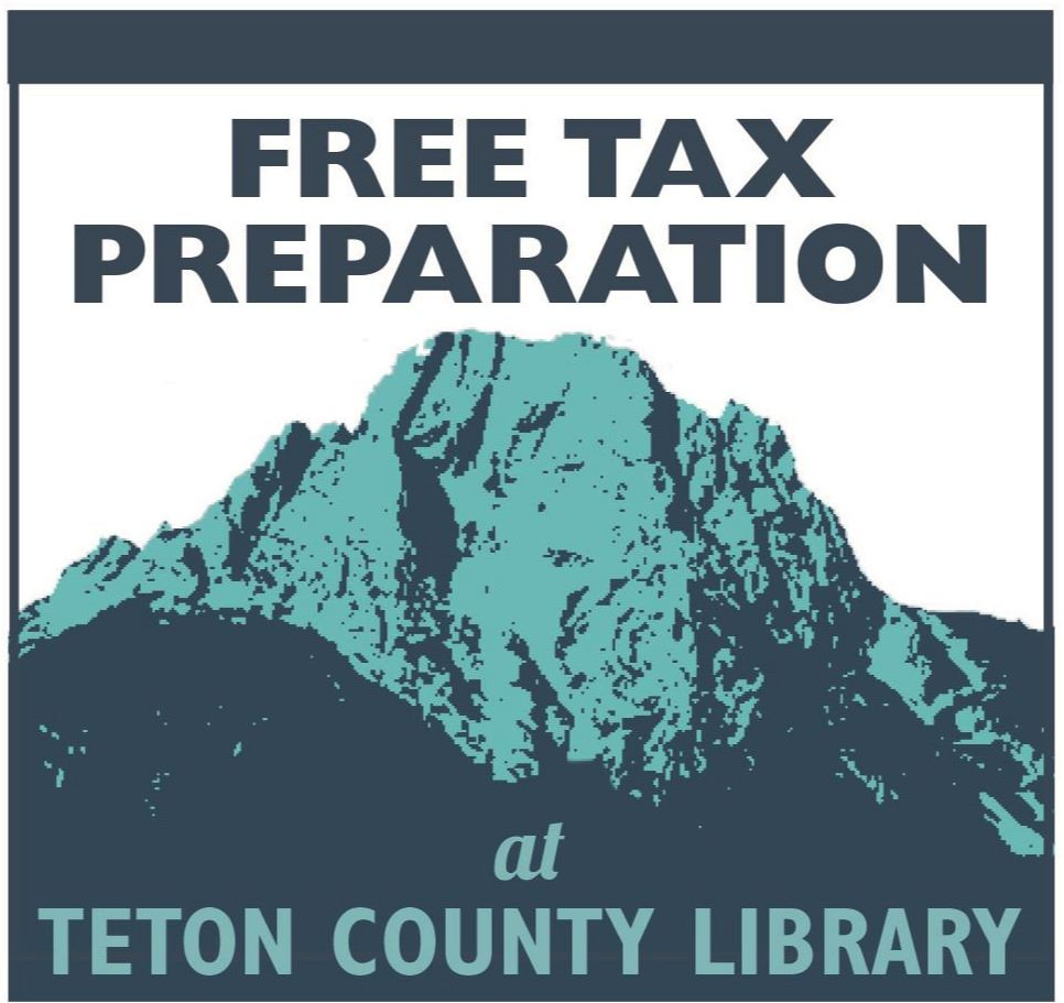 "image of the Teton VITA logo with the words ""free tax prep at TCL with new low-contact process"