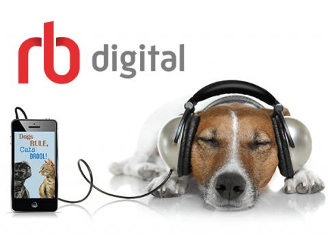 image of dog listening to audiobook on headphones with rb digital logo
