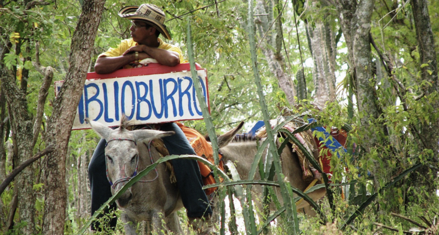 image of a man sitting on a donkey with a sign that reads