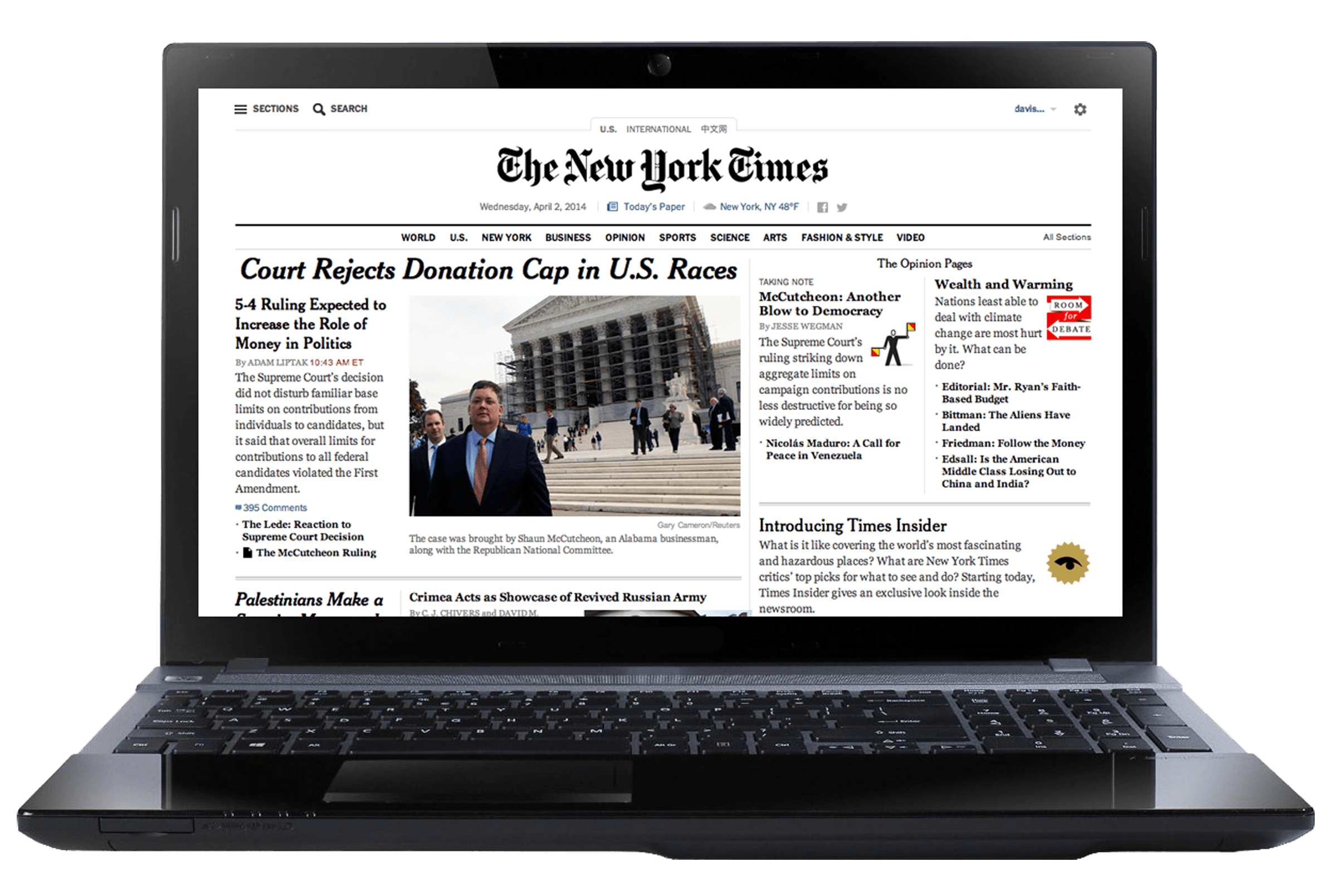 image of laptop displaying front page of New York Times