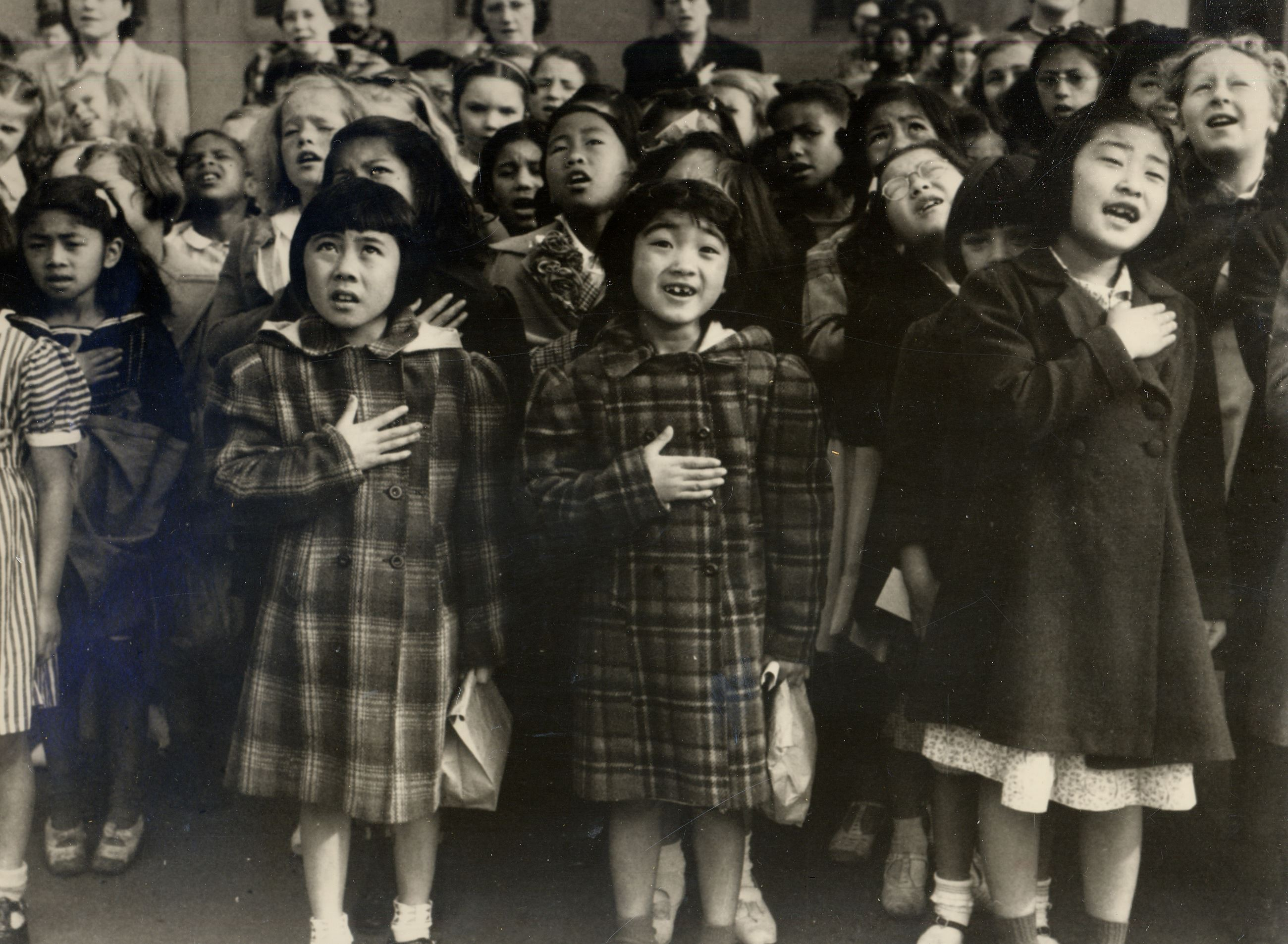 image of Japanese girls at Heart Mountain internment camp in the 1940s