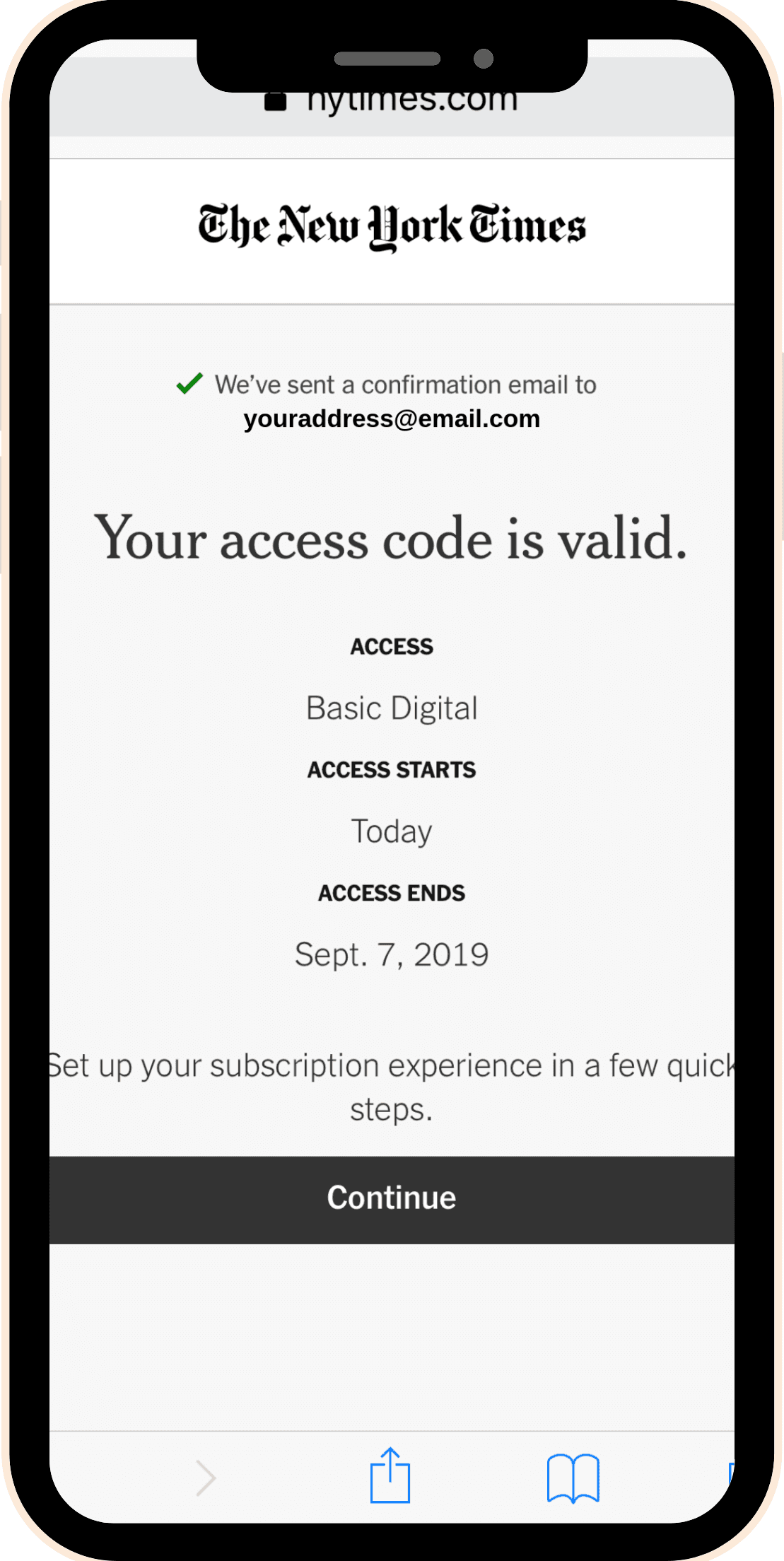 image of New York times access code notification webpage