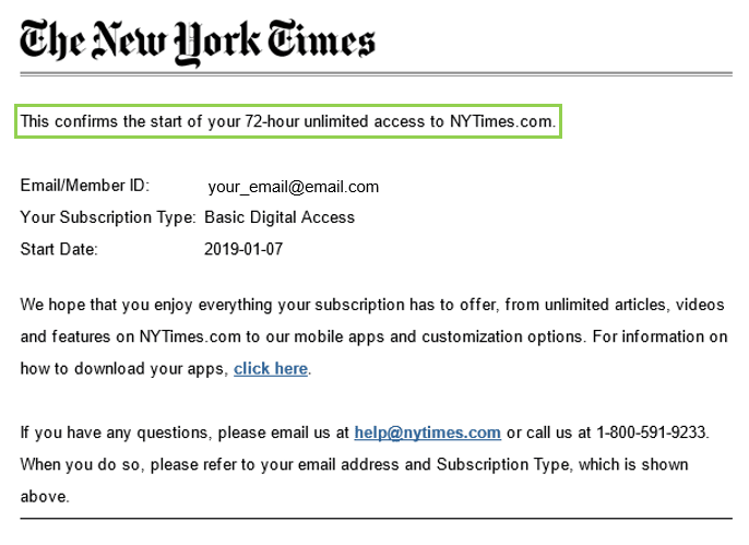 image of a confirmation email from New York Times