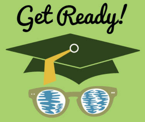 "image of graduation cap with sunglasses and ""get ready!"""
