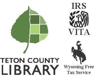 images of logos for the library, IRS VITA, and Wyoming Free Tax Service