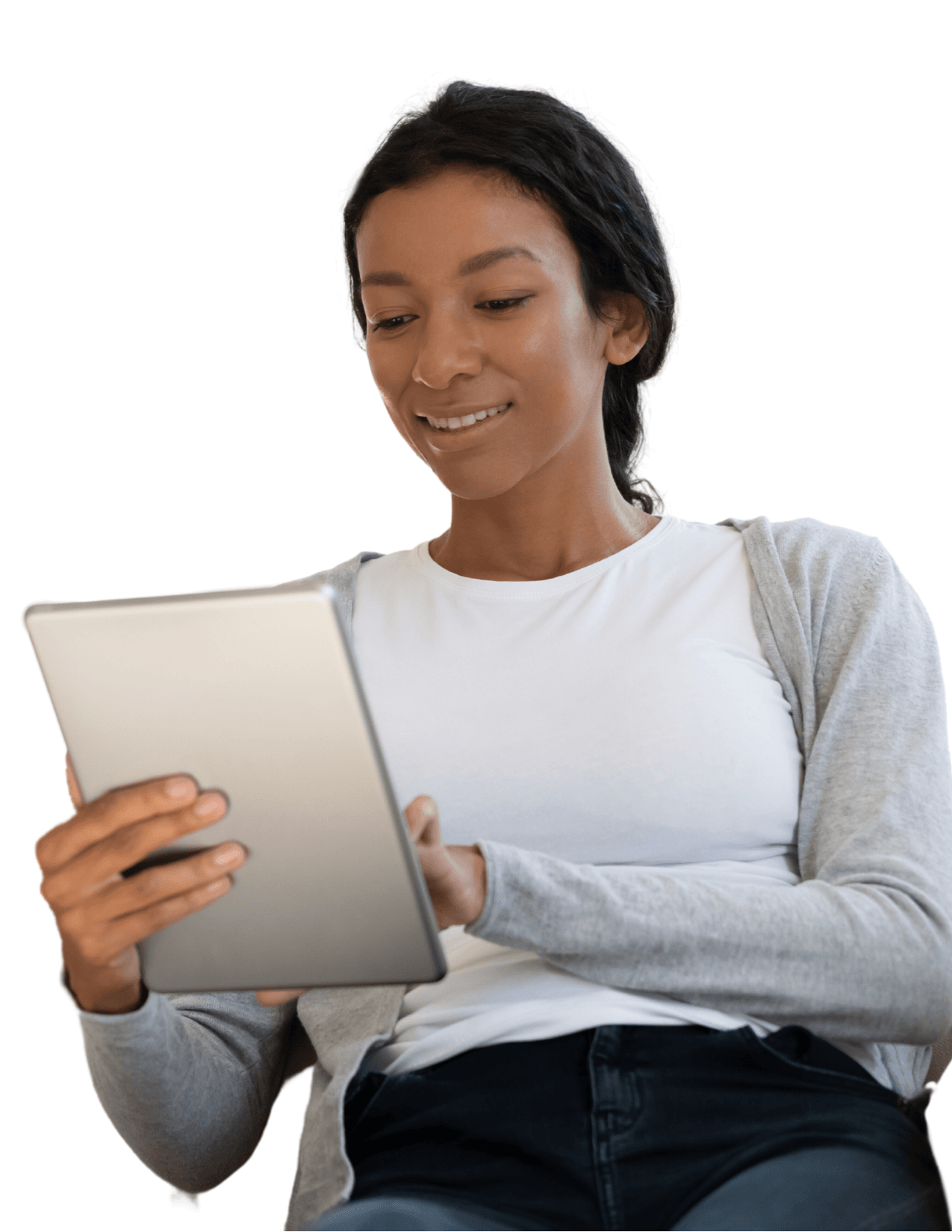 image of a person reading an e-book