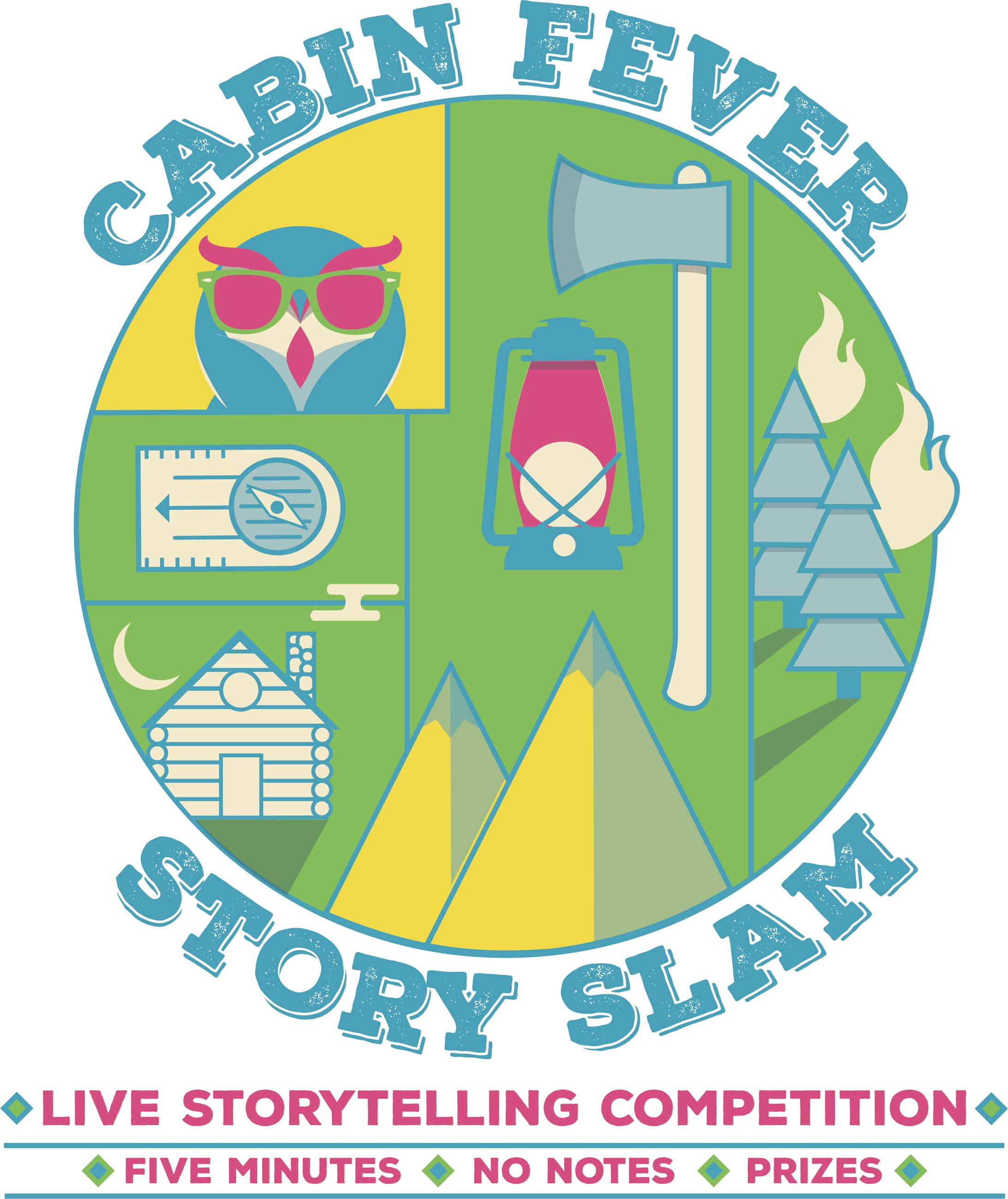 image of cabin fever story slam summer logo