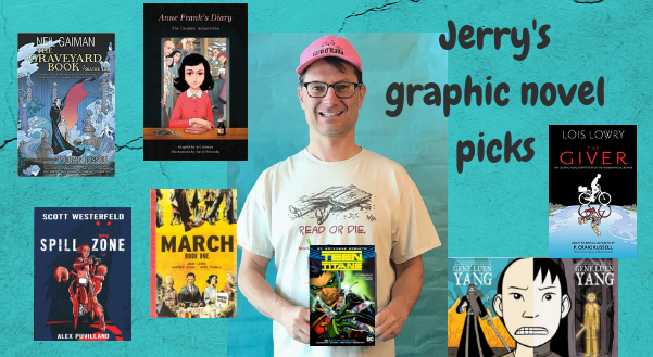 image of Jerry and several graphic novel covers
